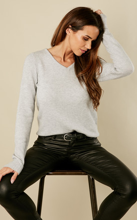 Light Grey Melange V Neck Knit Top by VILA Product photo