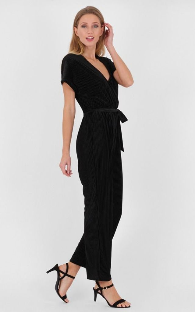 Black Plunge Neck Angel Sleeve Velvet Jumpsuit by MISSTRUTH