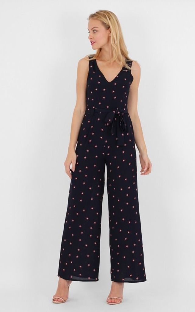 Blue V Neck Sleeveless Star Print Jumpsuit by MISSTRUTH