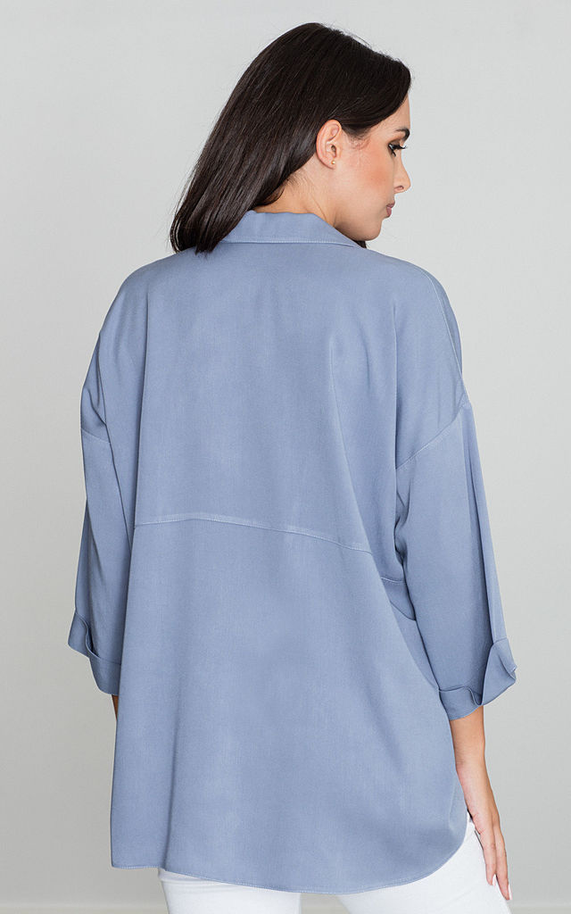 Blue 3/4 Sleeve Loose Shirt by FIGL