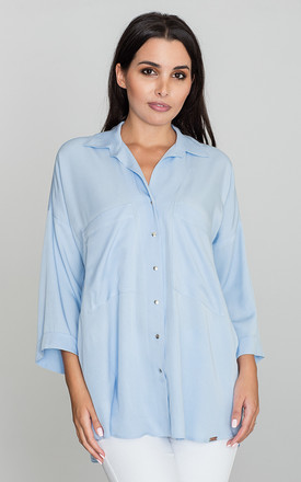 Light Blue 3/4 Sleeve Loose Shirt by FIGL