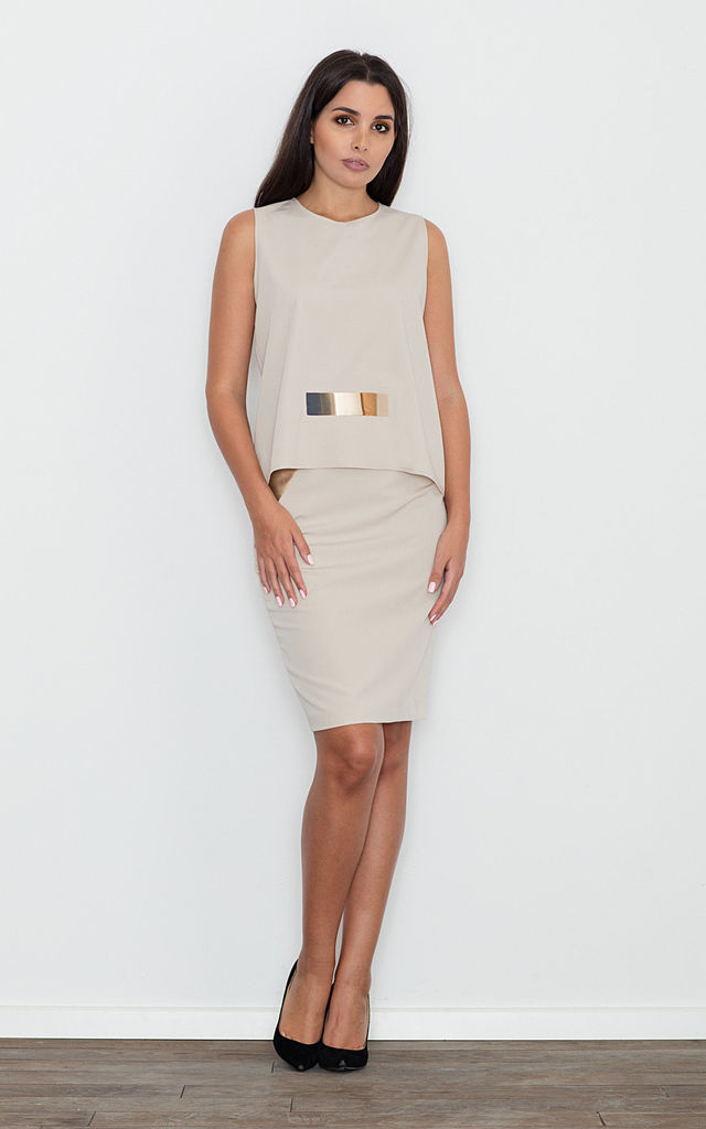 Beige Skirt & Top Set With Gold Details by FIGL