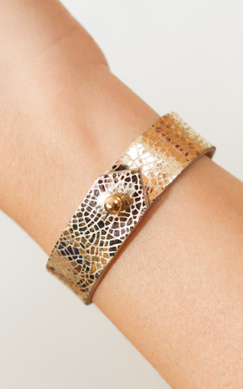 Gold Leather Cuff by Isabel Wong Product photo