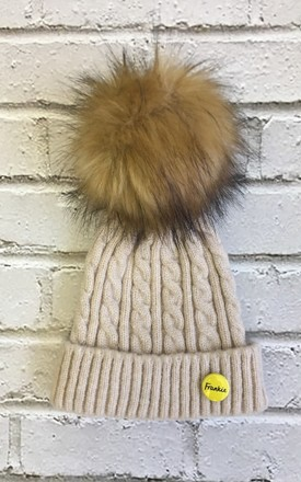 Beanie hat with faux fur pom pom in oatmeal/rust by Frankies Brand