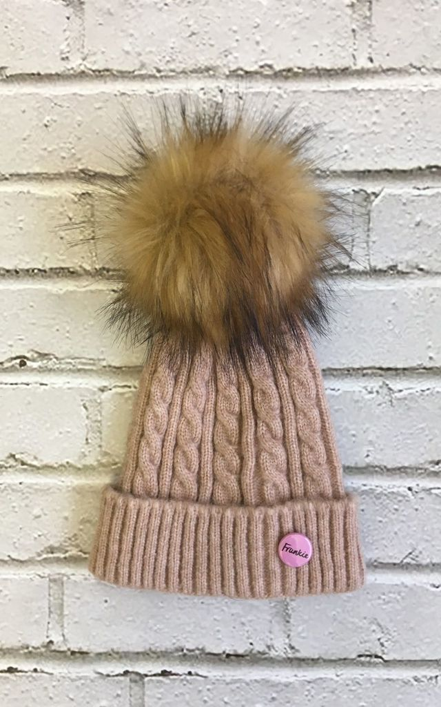 Beanie hat with faux fur pom pom in pink/rust by Frankies Brand