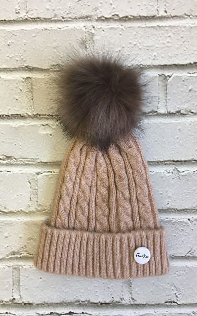Cashmere mix Beanie hat with detachable faux fur pompom by Frankies Brand