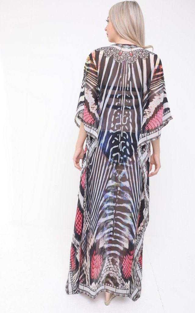 MULTICOLOURED SILK EMBELLISHED ANIMAL PRINT MAXI KAFTAN by Aftershock London