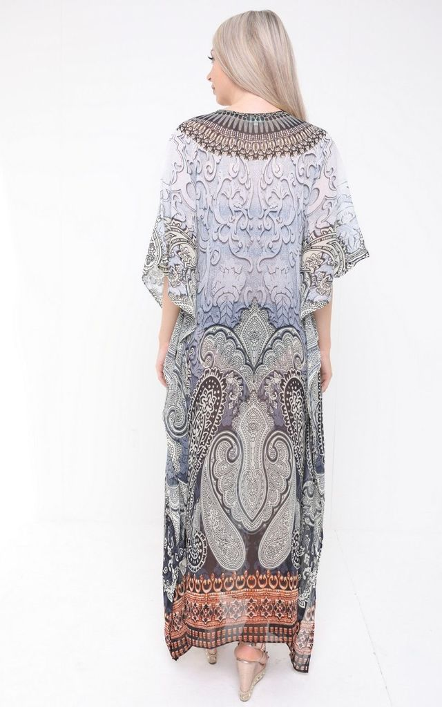 MULTICOLOURED SILK EMBELLISHED PRINT KAFTAN by Aftershock London