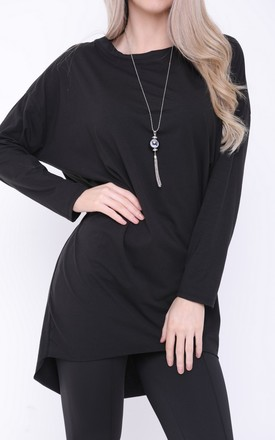 BLACK OVERSIZED LONG SLEEVE NECKLACE TOP by Aftershock London