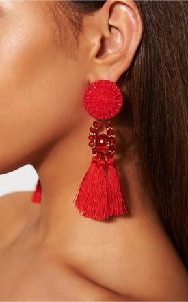 Zara Red Tassel Earrings by The Fashion Bible