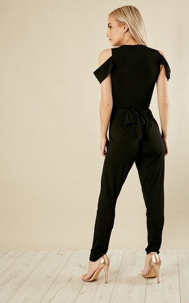 PETITE Black Cold Shoulder Jumpsuit by John Zack