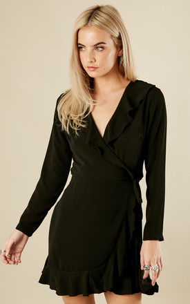 Petite Black Wrap Frill Mini Dress by John Zack Product photo