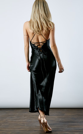 BLACK LOW BACK LACE UP DRESS by If By Sea