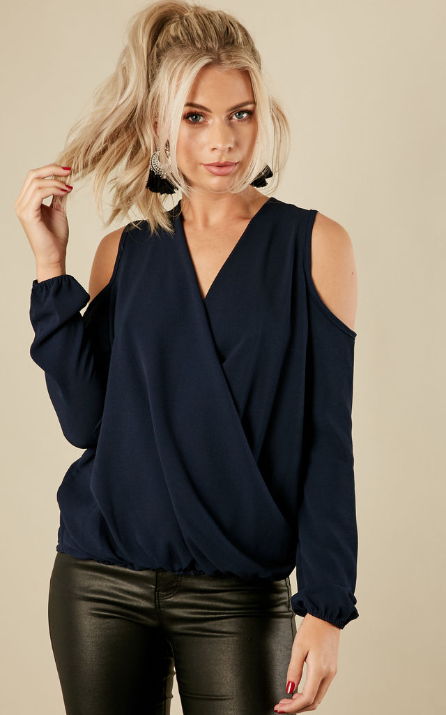 Navy Crepe Cold Shoulder Long Sleeve Drape Top by Lilah Rose