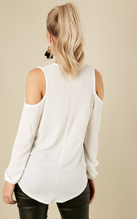 Ivory Crepe Cold Shoulder Long Sleeve Drape Top by Lilah Rose