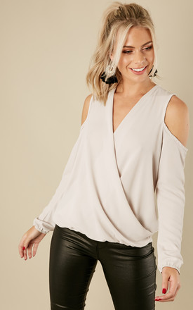 Grey Crepe Cold Shoulder Long Sleeve Drape Top by Bella and Blue Product photo