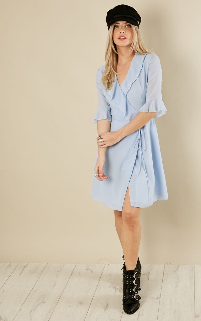 FRILL WRAP ICY BLUE MINI DRESS by True Decadence