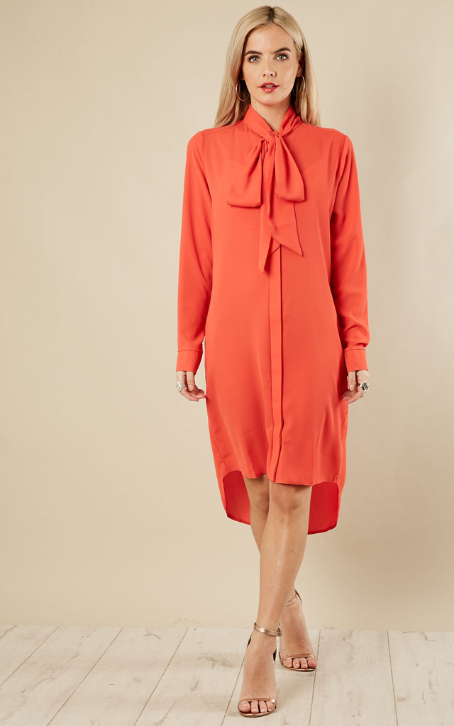 HETTY - Coral Pussybow Shirt Dress by Blue Vanilla
