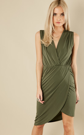 Petite Khaki Sleeveless Wrap Dress by Phoenix & Feather Product photo