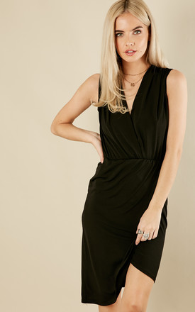 Petite Black Sleeveless Wrap Dress by Phoenix & Feather Product photo