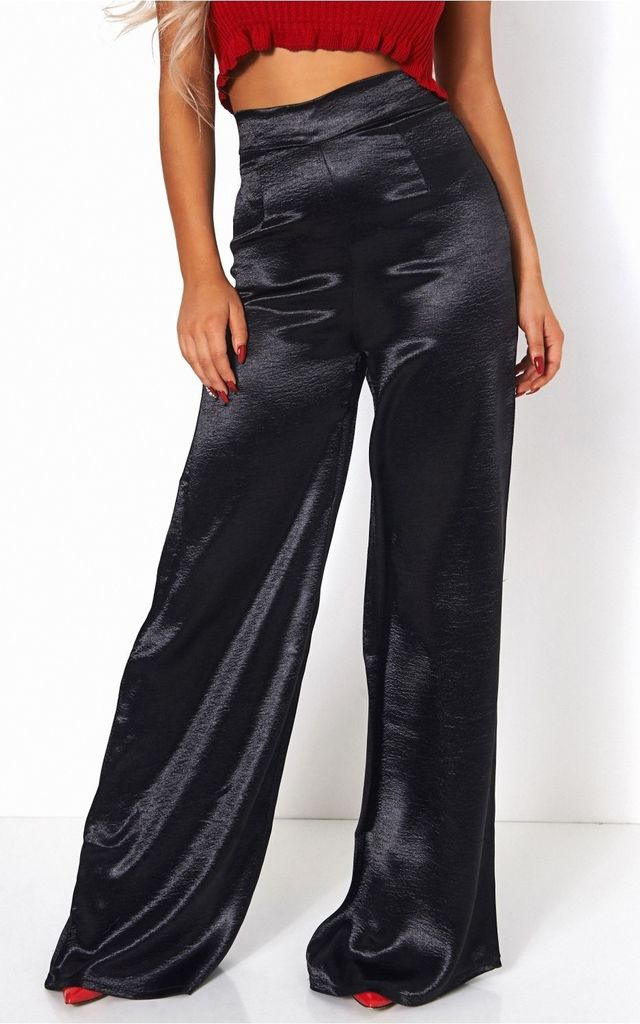 High Waisted Black Satin Flare Trousers by The Fashion Bible