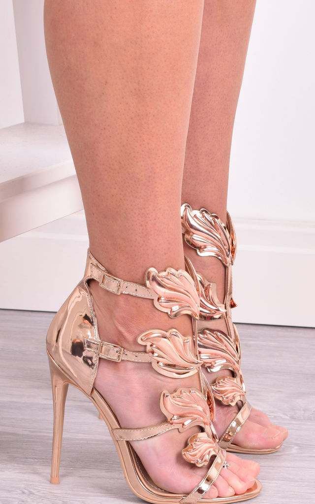 Frankie Rose Gold Wing High Heel Party Sandals by Solewish