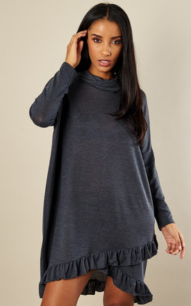 Adara – Cowl Neck Frill Hem Charcoal Tunic In Charcoal by Blue Vanilla Product photo
