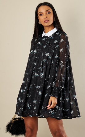 STARRY NIGHT PRINTED PLEATED SHIRT DRESS by English Factory