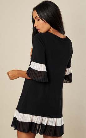 Black Pleated Sleeve Smock Jumper Dress by Bella and Blue
