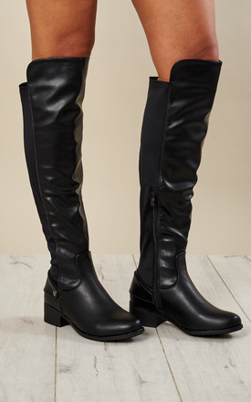 Black Pu Riding Boots Mixed Fabric by Truffle Collection Product photo