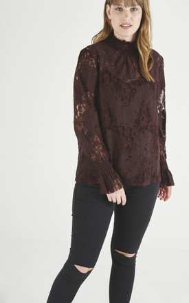 Burgundy Lace Top by ELVI