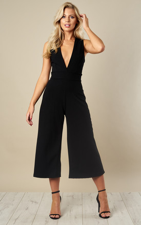 Black Deep V Culotte Jumpsuit by Phoenix & Feather Product photo