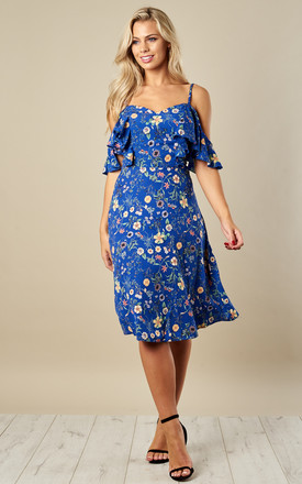 Blue Floral Off The Shoulder Dress by Luna Product photo