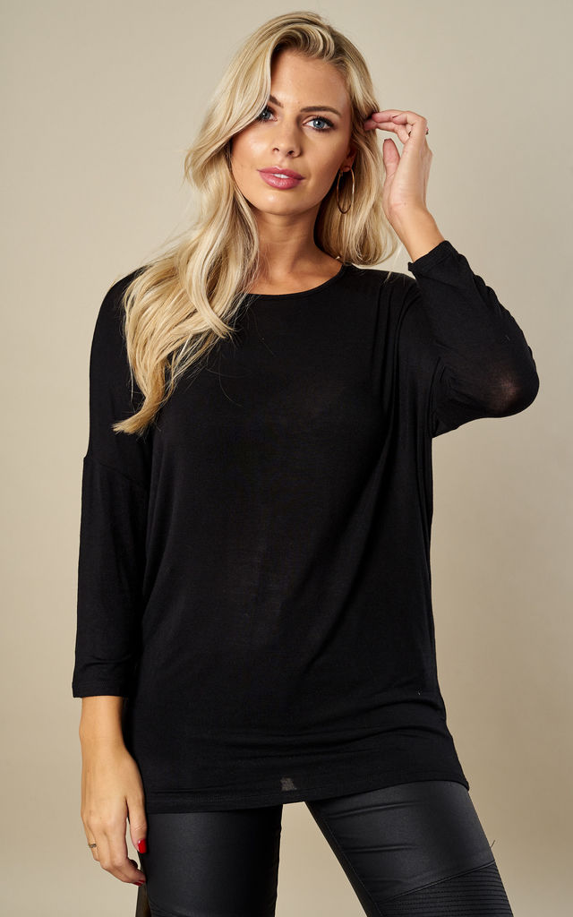 Black 3/4 sleeve open neck top by Pieces