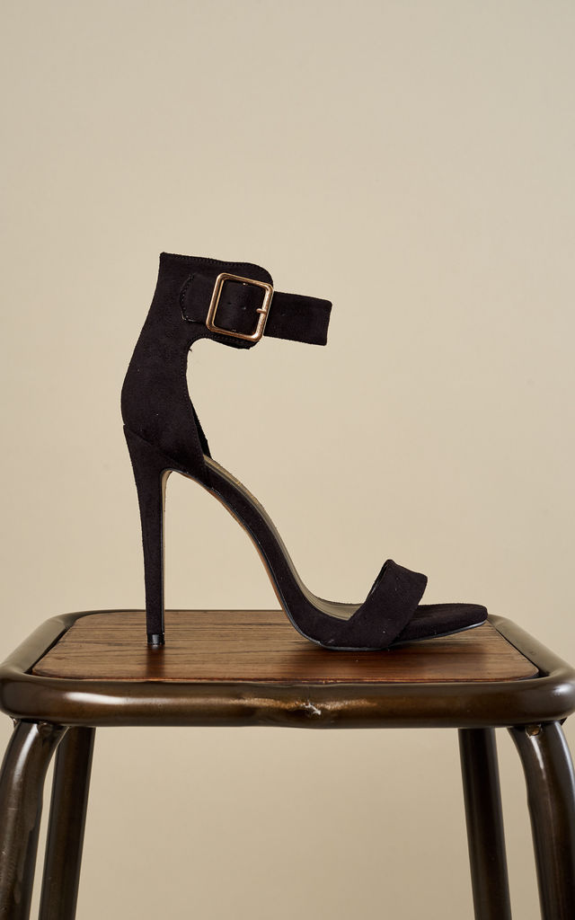 Black Strappy Heels with Buckle by Truffle Collection