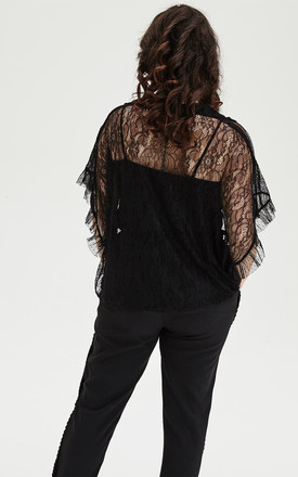 Black Polka Dot & Lace Shirt by ELVI