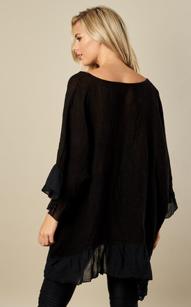 Oversized Black Linen Ruffle Top by Bella and Blue
