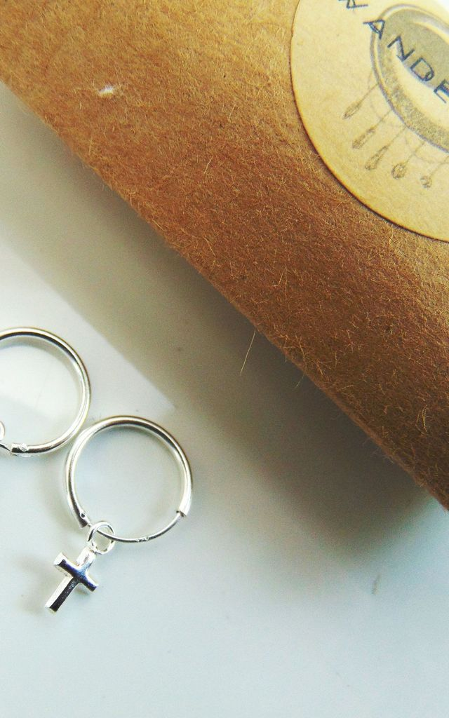 Regal Cross Sterling Silver Hoop Earrings by Wanderdusk