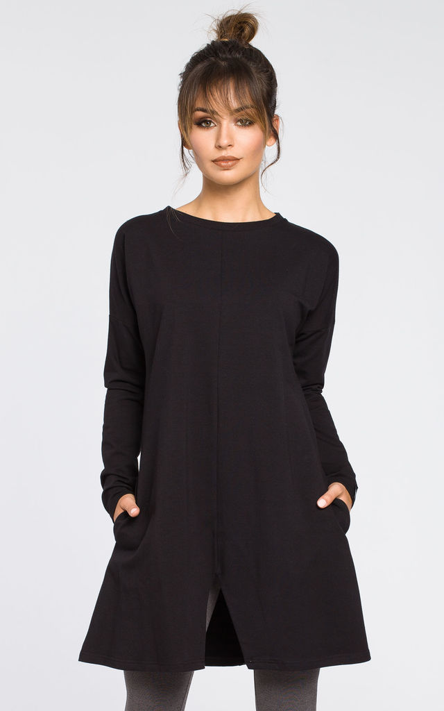Black sweat knit tunic dress by MOE