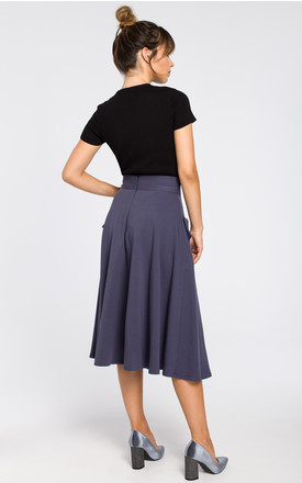 Knit Midi Skirt with Pockets in Blue by MOE