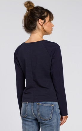 Navy blue versatile blouse with woven sleeves and knit bodice by MOE