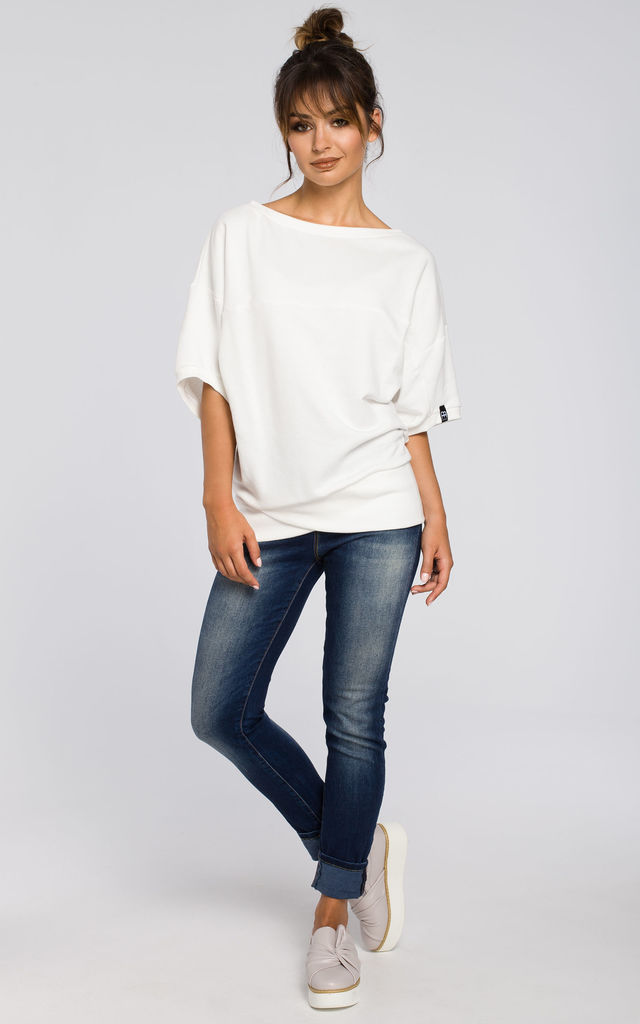Ecru oversized blouse with front wrapped by MOE