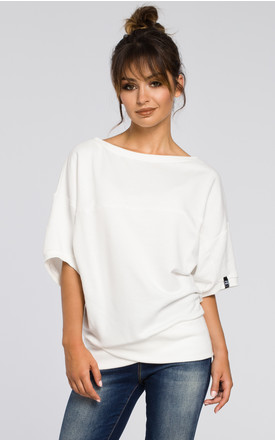 Oversized Top In White by MOE Product photo