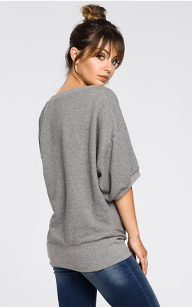 Grey oversized blouse with front wrapped by MOE
