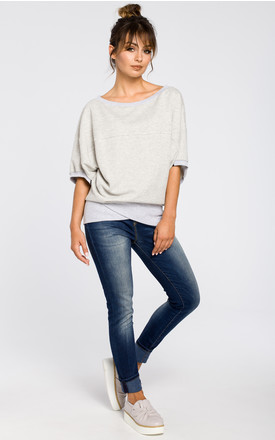 Light grey oversized blouse with front wrapped by MOE