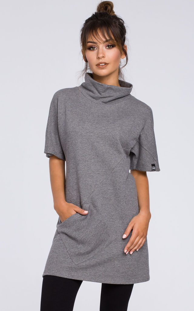 Grey tunic dress with large front pocket by MOE