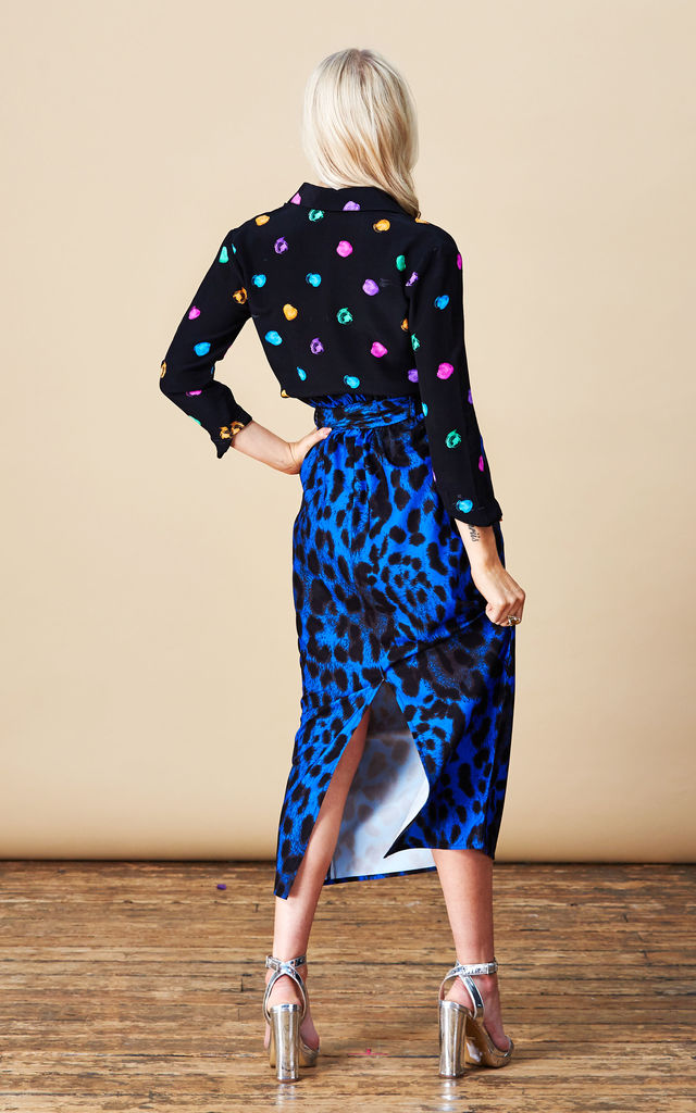Willow Skirt in Blue Leopard image