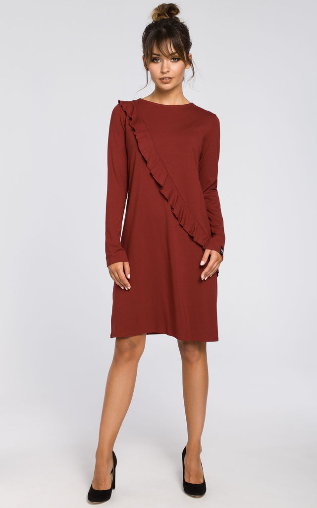 26bcc6f5ab60 Maroon long-sleeved shift dress by MOE