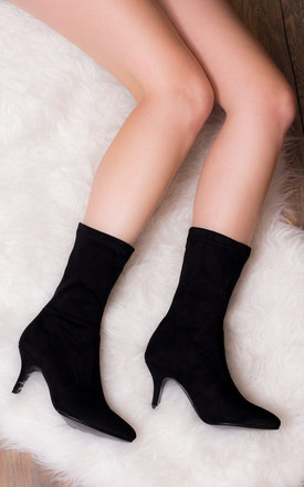 Joy Forever Mid Heel Ankle Boots Shoes   Black Suede Style by SpyLoveBuy Product photo