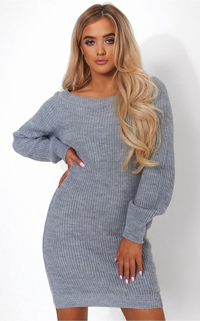 Oversized Grey Bardot Jumper by The Fashion Bible